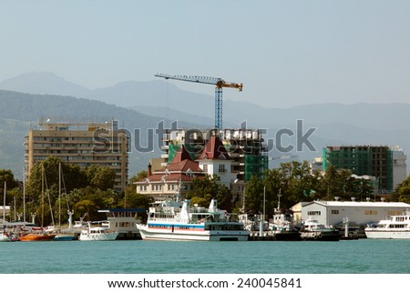 seascape view of the city of Sochi with Sea coast a wonderful morning - stock photo
