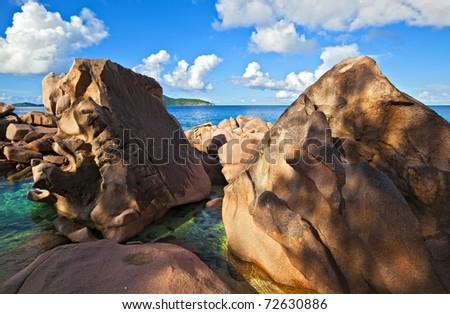 Seascape view, Seychelles, LaDigue island - stock photo