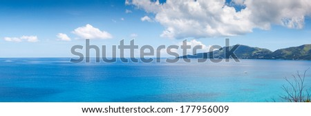 Seascape view with a huge stones, Seychelles, Mahe island - stock photo