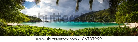 Seascape view with white sand, Seychelles, Mahe island - stock photo