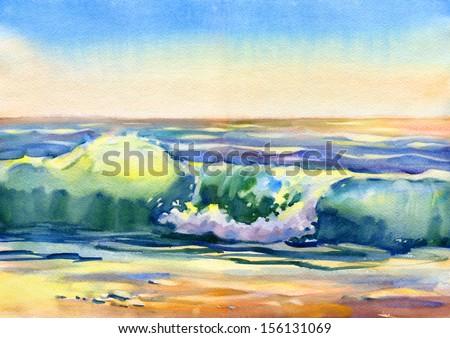 Seascape. Watercolor. - stock photo