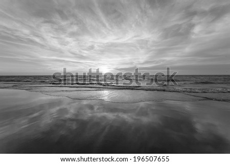 Seascape with black and white tone - stock photo