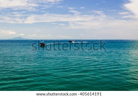 Seascape with calm sea and blue sky, Thailand - stock photo