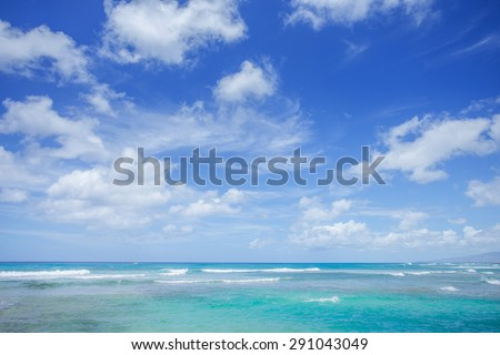 Seascape with cloud blue sky background