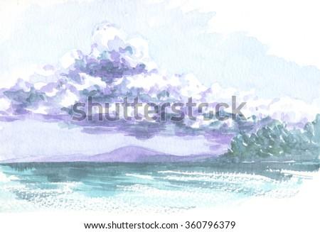 seascape  with cloud, watercolor