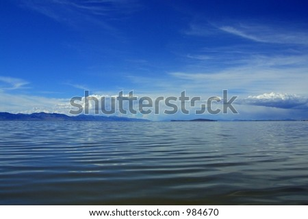 Seascape with clouds taken on Antelope Island in the Great Salt Lake near Syracuse, Utah. - stock photo