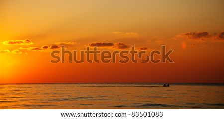 seascape with golden color over the bulgarian Black sea - stock photo