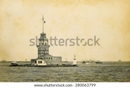 Seascape with Maiden's Tower in Istanbul. Maidens Tower - turkish historical landmarks. Ancient tower and lighthouse at Strait of Bosphorus, horizontal old photo in retro style. - stock photo