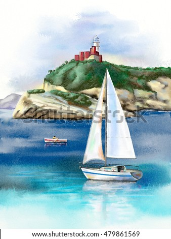 Seascape with sail and lighthouse. Hand-painted digital watercolor.