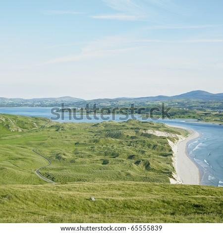 seascape with sand dunes, County Donegal, Ireland - stock photo