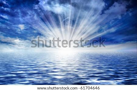 seascape with sun & cloudy sky - stock photo