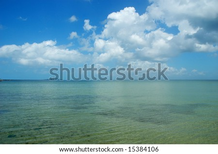 Seascape with Sunshine Skyway cable-stayed bridge across Tampa Bay, Florida - stock photo
