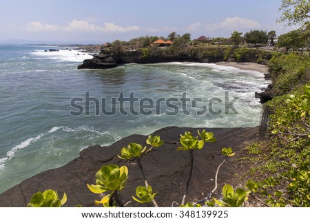 Seascape with Tanah Lot Temple in Bali, Indonesia - stock photo