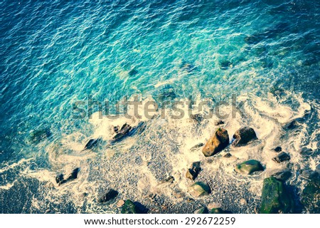 Seascape with top view of Atlantic ocean coast at summer time - stock photo