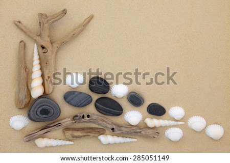 Seashell, pebble and driftwood abstract collage on beach sand background. - stock photo