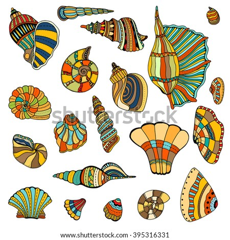 Seashell set collection. Art illustration. Zentangle. Hand drawn artwork. Beach concept for restaurant menu card, ticket, branding, logo label. - stock photo