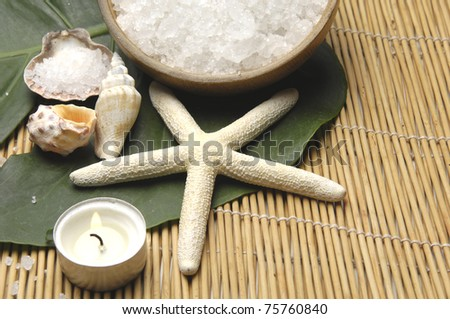 seashell with starshell and bowl of bath salt with green leaf on pretty bamboo mat - stock photo