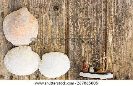 seashells and a fishing-boat on wooden background copy space - stock photo