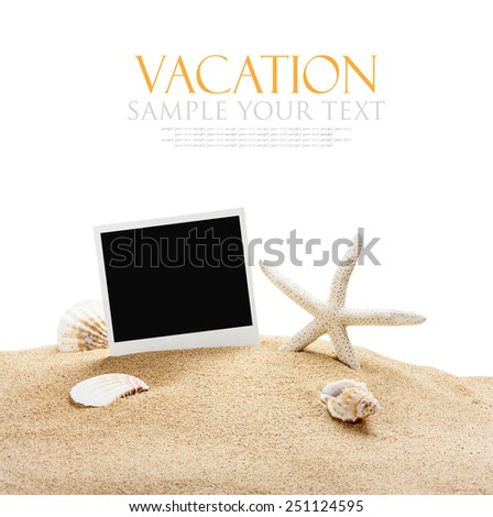 seashells and old picture frame isolated on white background. The text serves as a model and can be easily removed - stock photo