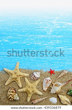 Seashells and starfish on a blue wooden background - stock photo