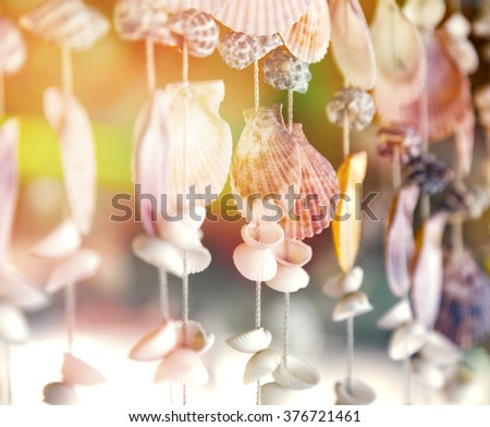 seashells on a rope, tropical beach concept, in soft selective focus - stock photo
