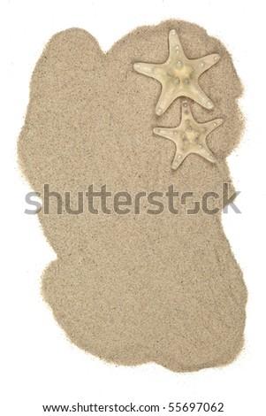 Seashells on sand beach,Isolated on white. - stock photo