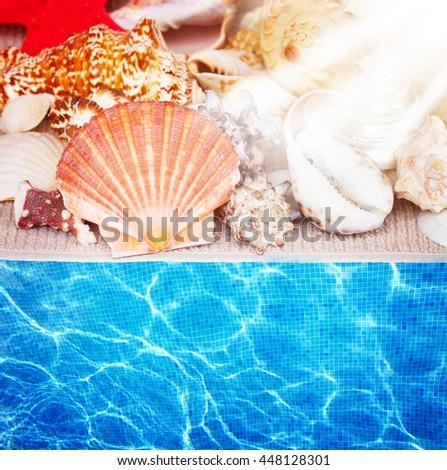 seashells on towel border isolated on white background with sun rays - stock photo