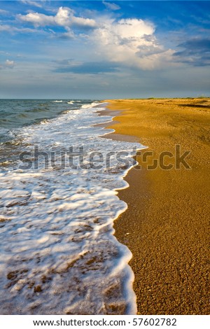 Seashore before thunderstorm - stock photo