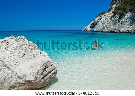 seashore cala goloritze, Sardinia, Italy  - stock photo