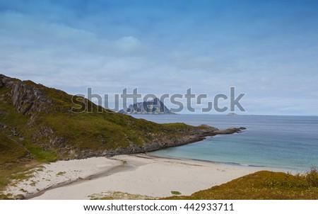 Seashore, coastline in the Northern Norway.Troms.Sandoya. - stock photo