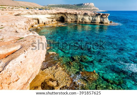 Seashore in Aiya Napa near Cape Greco, Cyprus. - stock photo