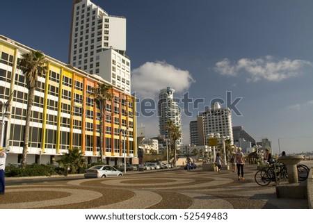 Seashore in Tel-Aviv - stock photo