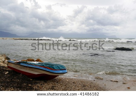 Seashore in Trappeto - city in western Sicily. Rainy cloudy weather