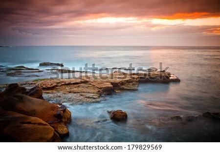 seashore near bondi bech - Tasman Sea, Sydney, Australia  - stock photo