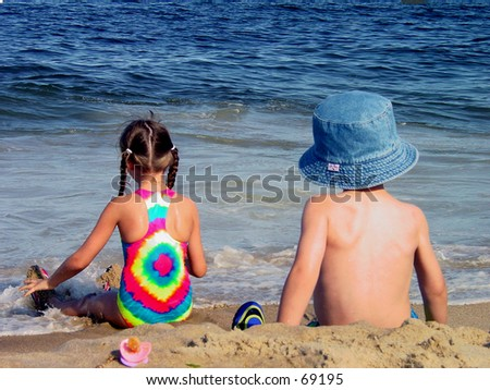 Seashore Sittin - stock photo