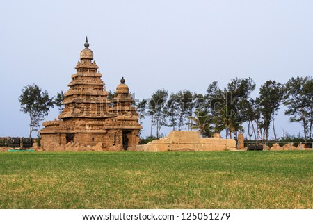Seashore Temple,UNESCO heritage site,Mamallapuram,I ndia - stock photo