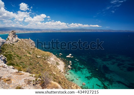 Seashore viewed from high cliff - stock photo