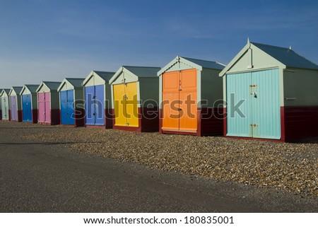 Seaside beach huts - stock photo