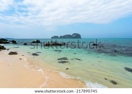 Seaside beach in Thailand, Asia.Blue sky and white sand at Bamboo Island, Thailand - stock photo