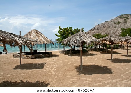 Seaside beach with shade umbrella on an island in Venezuela