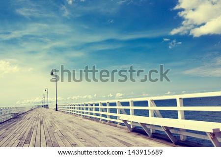 Seaside boardwalk in Brisbane - stock photo