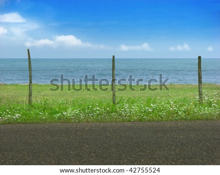 Seaside, cloudy sky and grass behind barbed wire