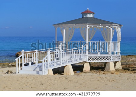 Seaside gazebo for wedding ceremony - stock photo