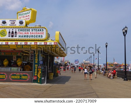 SEASIDE HEIGHTS, NEW JERSEY - AUG 17: Restaurants at Seaside Heights at Jersey Shore in New Jersey, as seen on August 17, 2014. The Casino pier here features numerous rides and attractions.