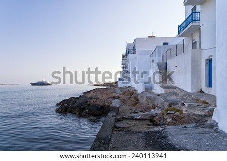 Seaside houses in Naoussa village, Paros island, Greece