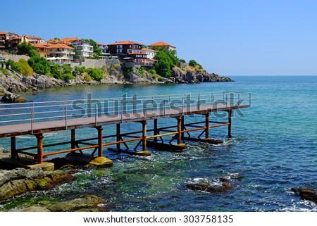 Seaside in old town of Sozopol, Bulgaria - stock photo