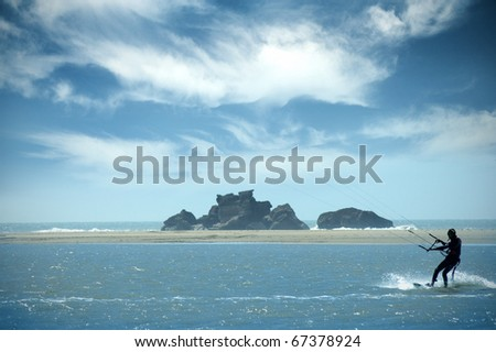 Seaside, Kitesurfing - stock photo