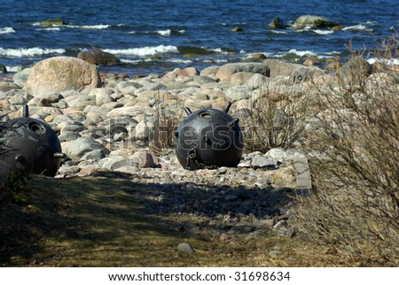 Seaside naval bombs - stock photo