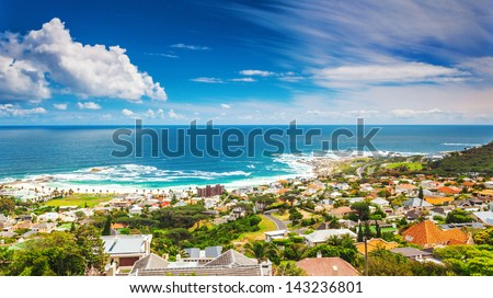 Seaside of Cape Town, beautiful coastal city in the Africa, panoramic landscape, modern buildings, travel and tourism concept - stock photo