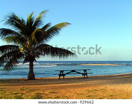 Seaside Picnic Table - stock photo